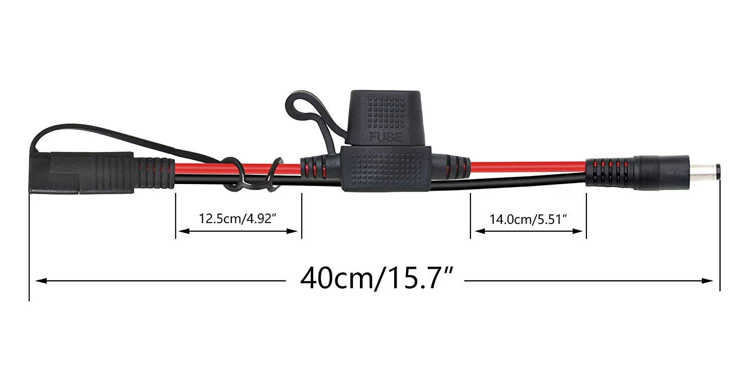 CERRXIAN 40cm 14AWG DC 5.5mm x 2.1mm to SAE 2 Pin Quick Disconnect Wire Harness Extension Cable with 10A Fuse for Portable Powers Motorcycle Solar Panel Charger