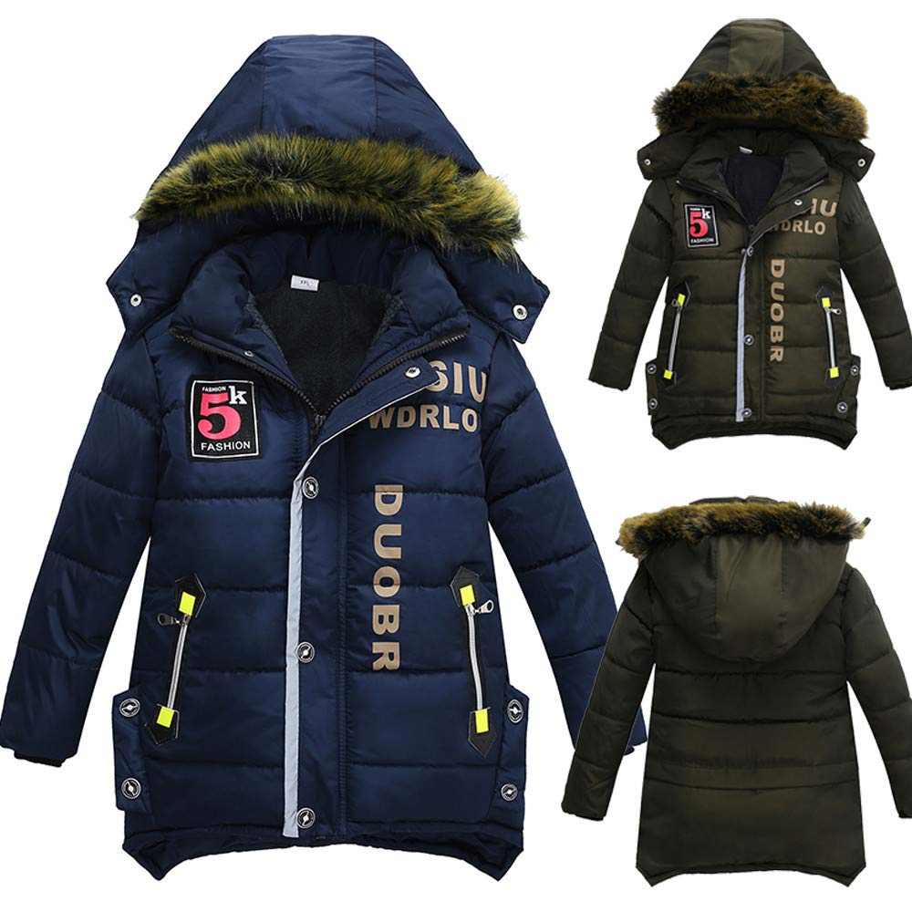HOMEBABY Children Winter Warm Cotton Padded Hooded Coat Kids Girl Boy Thick Jacket Cardigan Hoodie Casual Long Sleeve Tops Clothes 3-7 Years