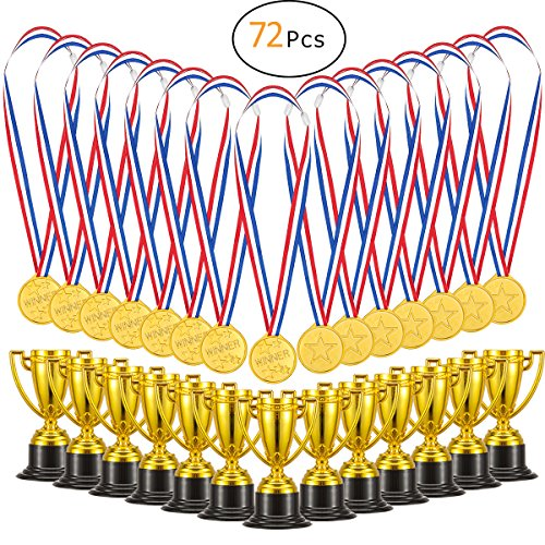 Biubee Pack of 72 Children's Golden Plastic Award Medals Trophy Set- 36Pcs Winner Medals Plus 36 Pcs Trophies for Sports, Competitions, Celebration and Party (Small Trophy Cup)