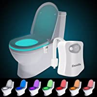 Toilet Night Light, Motion Activated LED Light, Two Modes with 8 Colors Changing Toilet Seat Light for Washroom, Water Resistant Motion Sensor Bathroom Toilet Bowl light by Eisonlife, Fits Any Toilet(White)