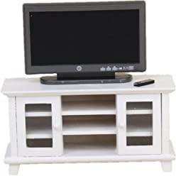 09124d700b5 iraintech 1 12 Dollhouse Miniature TV with White TV Cabinet Bench Furniture  for Dolls House