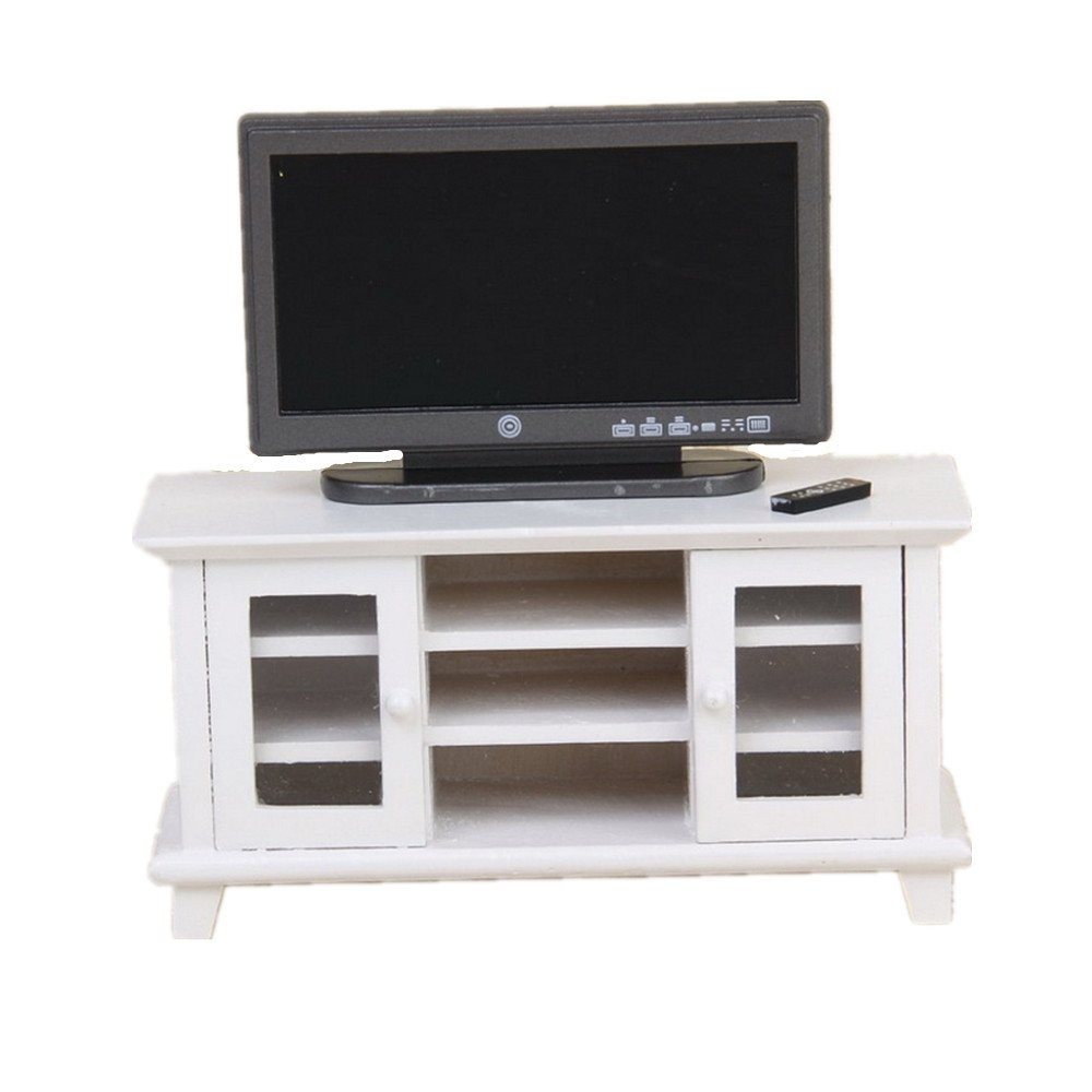 iraintech 1:12 Dollhouse Miniature TV with White TV Cabinet Bench Furniture for Dolls House Living Room