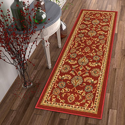 Non-Skid / Slip Rubber Back Antibacterial 2x7 ( 2' x 7' Runner ) Rug Timeless Oriental Red Traditional Classic Sarouk Thin Low Pile Machine Washable Indoor Outdoor Kitchen Hallway Entry (Red Shed Outdoor Furniture)
