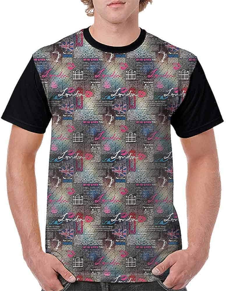 BlountDecor Printed T-Shirt,Fun Colorful Sketch Fashion Personality Customization