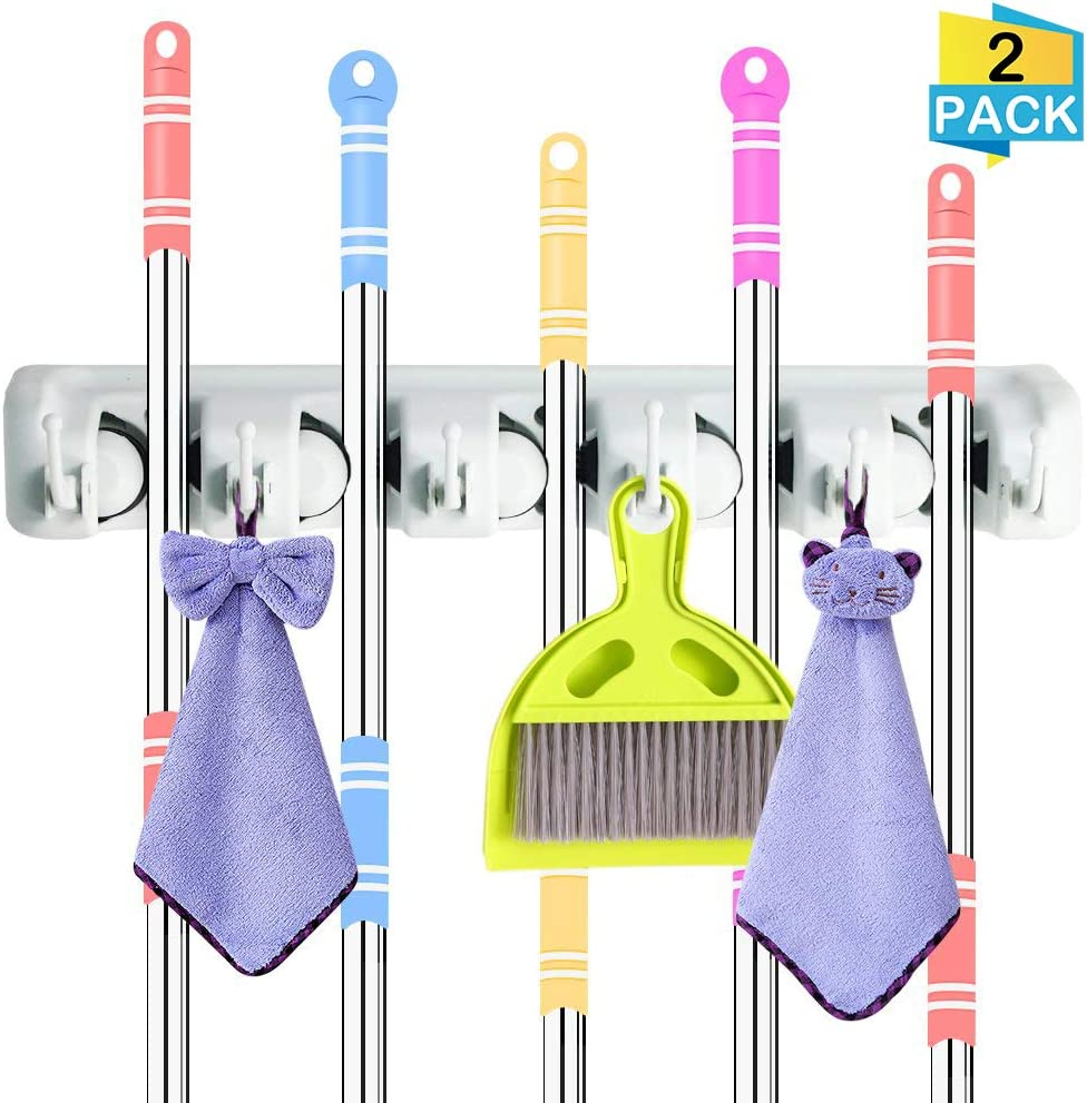 DiGiCare Broom Holder, Wall Mount Mop Holder Broom Hanger Organizer with 5 Ball Slots and 6 Hooks, Holds Up to 11 Tools for Kitchen, Bathroom, Garage (2pcs Large)