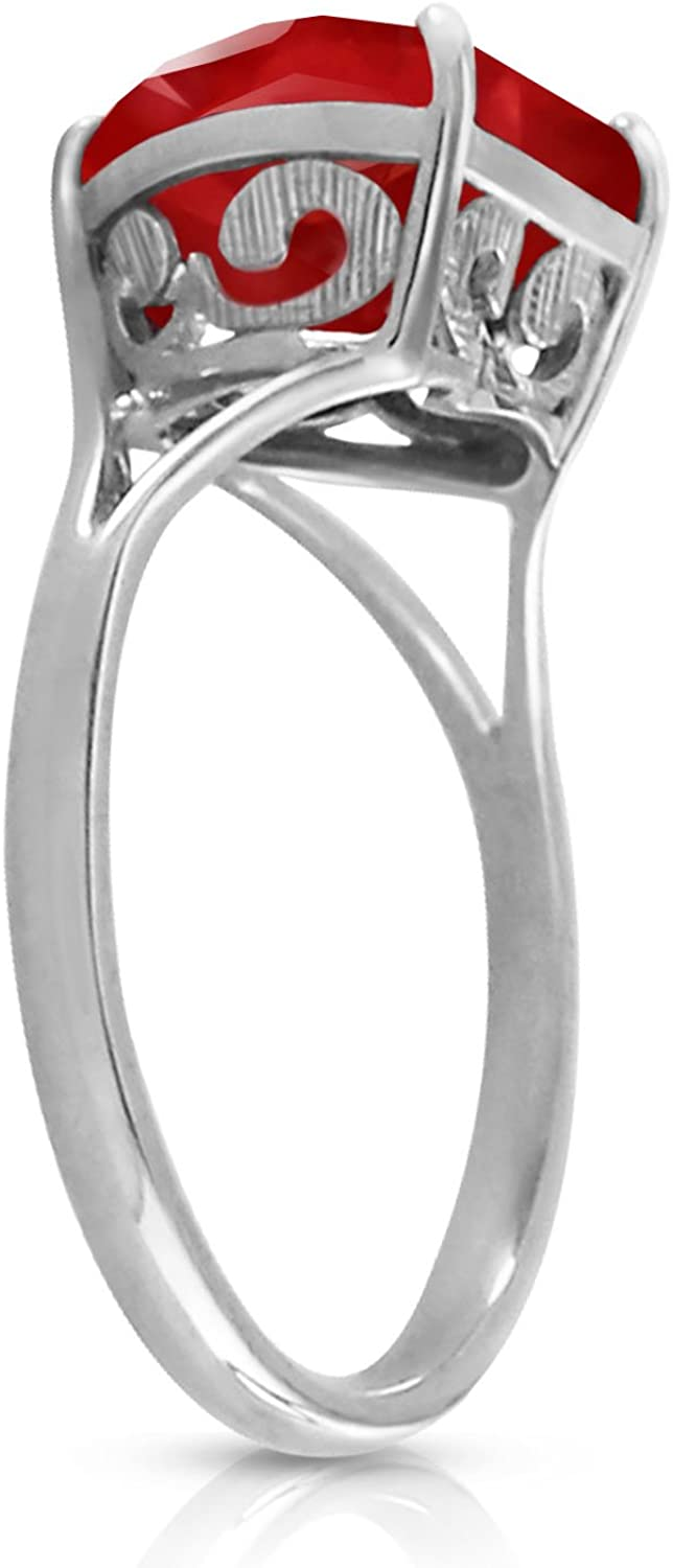 Certified 3.60 Ct Oval Ruby 14k Genuine White Gold Solitaire Engagement Ring,Wedding Ring,101418k Gold Ring Sterling Sliver Ring