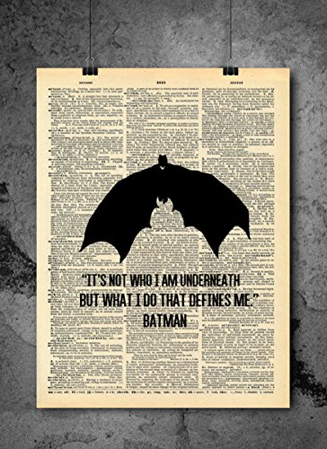 Batman Art - Who I Am Underneath Quote - Vintage Dictionary Print 8x10 inch Home Vintage Art Abstract Prints Wall Art for Home Decor Wall Decorations Ready-to-Frame ()