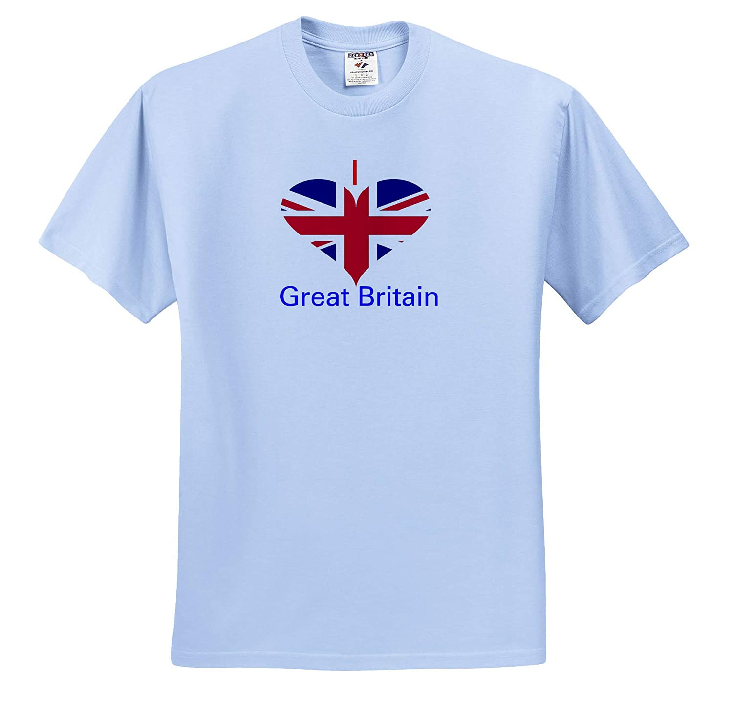 Image of I Love Great Britain in Flag Heart Coat of Arms in Heart T-Shirts 3dRose Lens Art by Florene