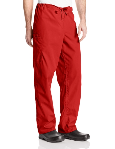 Cherokee Originals Unisex Drawstring Cargo Scrubs Pant, Red, Large -