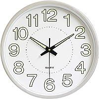 12 Inch Luminous Silent Quartz Wall Clock For Indoor Outdoor Glow In The Dark - Silver
