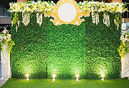 Laeacco Wedding Stage Decoration Photography Background 7x5ft Luxury Indoors Backdrop Green Plants Wall Backdrops Flowers