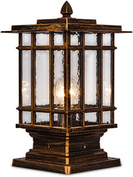 Faro columna Luz de la puerta exterior puerta pilar pared pilar cabeza pared villa jardín jardín patio palabra lámpara lámpara superior plana tamaño opcional tamaño pequeño tamaño pequeño: 18 * 36.5c: Amazon.es: