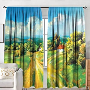 """NUOMANAN Home Decoration Thermal Insulated Curtains Rustic,Barren Path to Small Village Plenty of Plants and Trees Oil Painting Image,Green Yellow Blue,for Bedroom,Nursery,Living Room 54""""x63"""""""