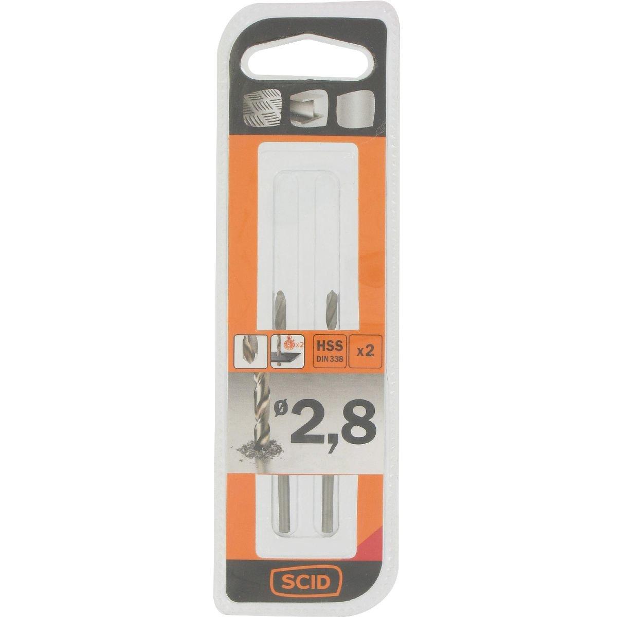 Longueur 50 mm Vendu par 2 Foret m/étal HSS din 338 SCID Diam/ètre 2,8 mm