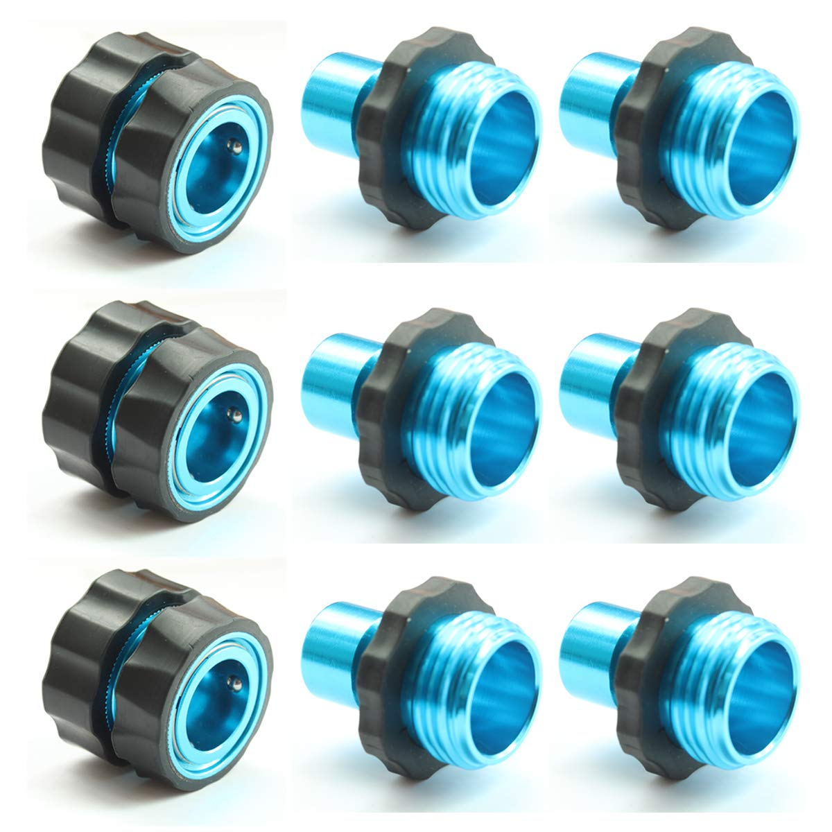 PLG Blue Garden Quick Hose Connectors,3 Female+6 Male,3/4 in. Water Hose Fittings