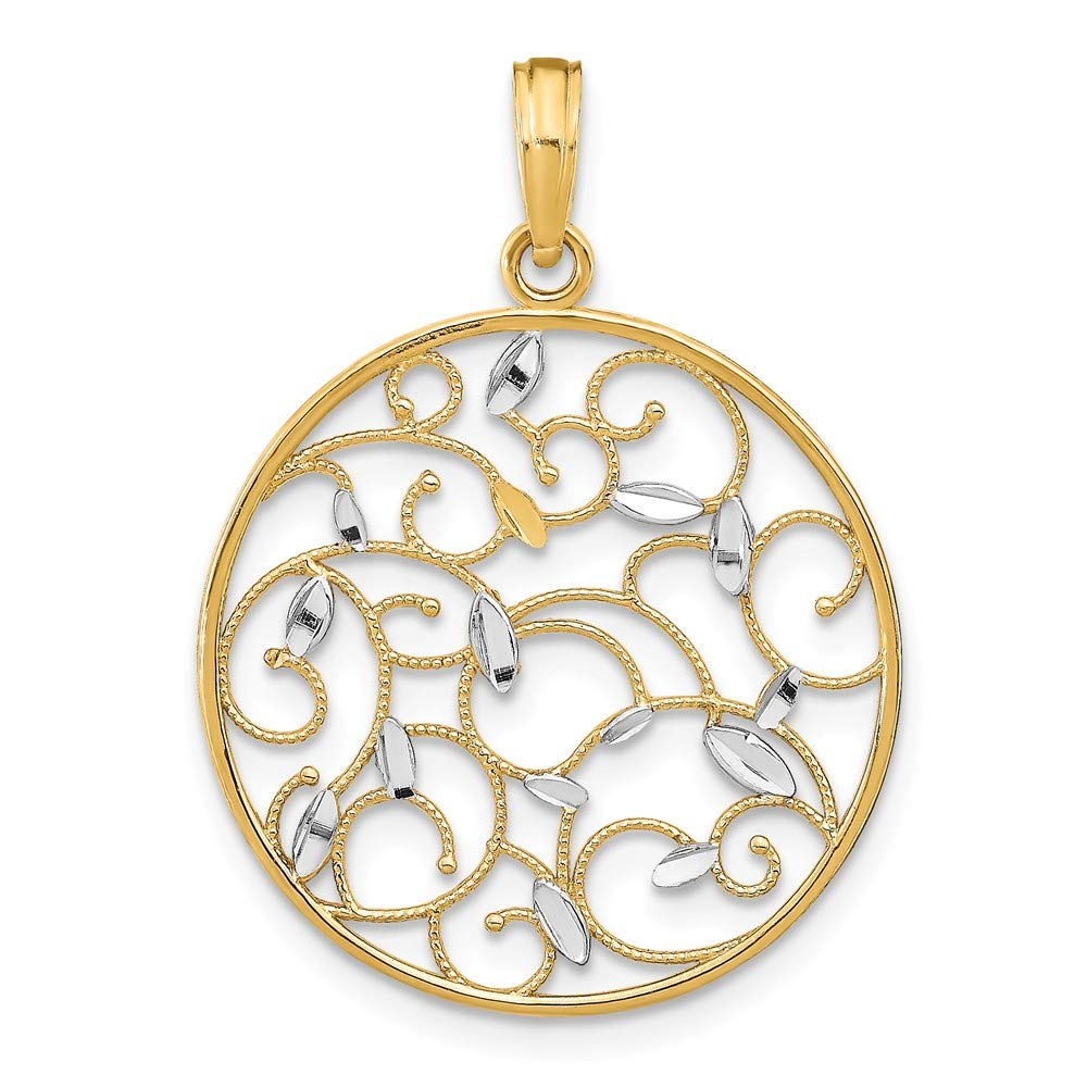 FB Jewels 14k White and Yellow Two Tone Gold Round Cut Out Floral Medallion Pendant