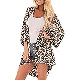 Camiseta con Un Hombro, Blusa Sexy Mujeres Moda Leopardo Largo Mangas con Volantes Impresión Casual Camisa Top…