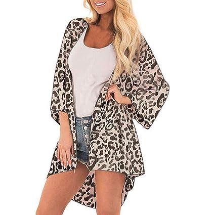 b4a8d580e3 Euone Women Tops Clearance Sales, Women Leopard Print Cover Casual Blouse  Tops Kimono Bikini Cardigan Capes Cover