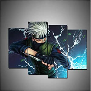 No Frame 4Pieces Naruto Wall Art Prints Modular Poster for Living Room Home Decor Canvas Painting Sasuke Anime Pictures (Color A)