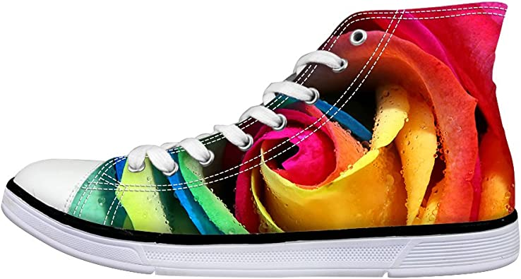 Colorful Printed Soft Boys Girls High Top/Lace Up Comfortable Canvas Little Kids Sneakers