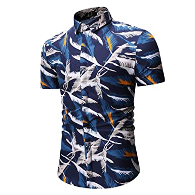 69eed464496 Amazon.com  NRUTUP-Men Business Casual Dress Shirts Sales Casual Summer  Print Short Sleeve O-Neck T-Shirt Top Blouse  Clothing