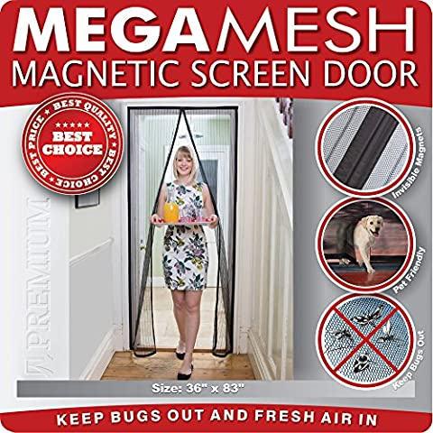 Magnetic Screen Door Heavy Duty Reinforced Mesh & FULL FRAME VELCRO Fits Doors Up to 34