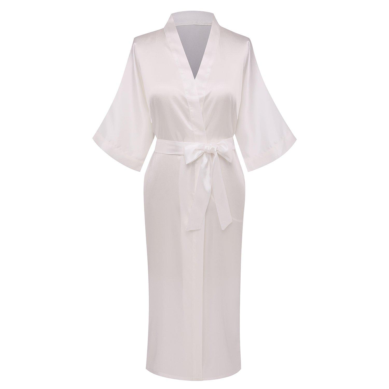 Goodmansam Women's Simplicity Style Nightwear Elegant Kimono Robes, Long,X-Large,Pure White3