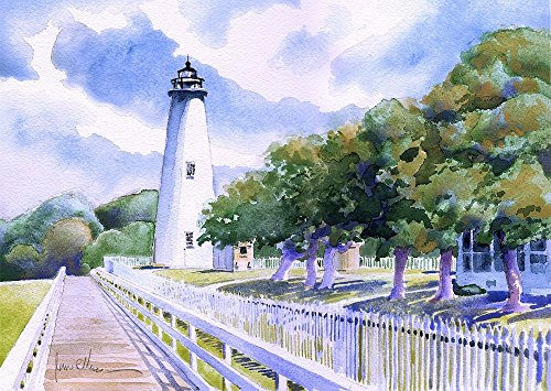 - Ocracoke Island Lighthouse, Outer Banks, North Carolina. Matted Watercolor Art Prints (8x10)