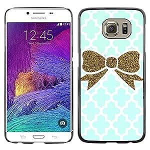 rígido protector delgado Shell Prima Delgada Casa Carcasa Funda Case Bandera Cover Armor para Samsung Galaxy S6 SM-G920 /Moroccan Blue Gold Bling White/ STRONG