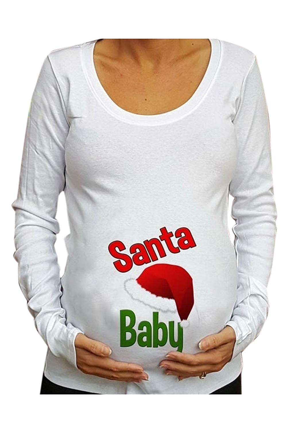 Fanvans Maternity Christmas Shirts Long Sleeve Letter Print Tops