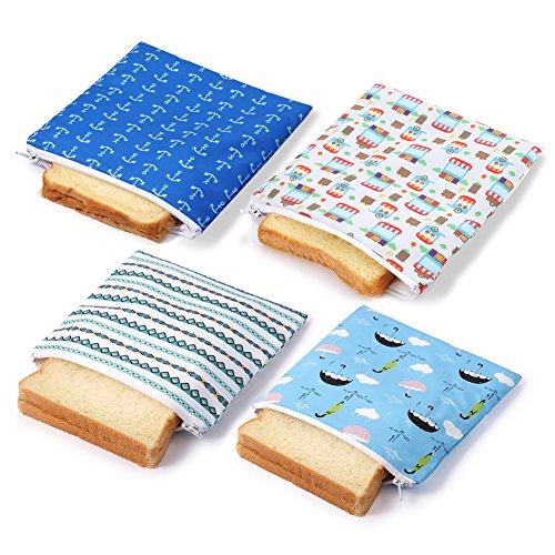 Reusable Sandwich bags Snack Bag Dishwasher Safe Eco Friendly for Kids (4 pack car)