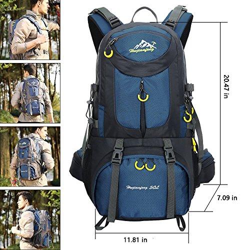 50L impermeable al aire libre deporte senderismo mochila de senderismo camping mochila de viaje Pack montañismo escalada de la mochila con Cubierta para la lluvia, verde Deep blue
