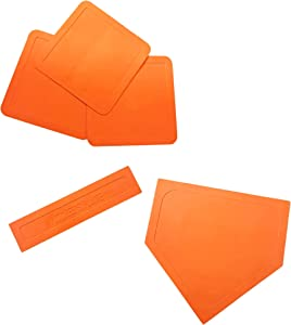 Cannon Sports Orange Throw Down Base Set with Home Plate for Baseball, Softball, Backyard Training and Practice