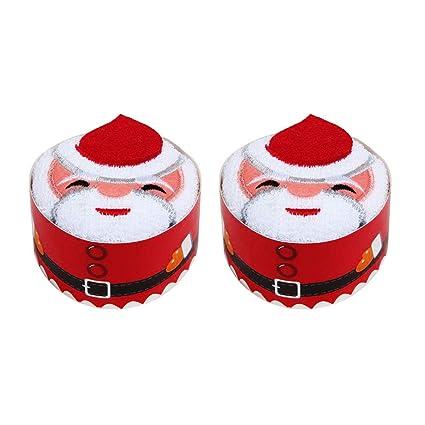 BESTOMZ 2 Piezas de Navidad Toallas de Mano Pastel de Modelado de Toallas Establece (Santa