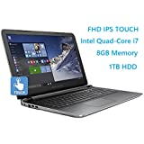 "HP Pavilion 15.6"" Flagship Laptop, 6th Gen Skylake Intel i7-6700HQ Quad-Core Processor(6M Cache, up to 3.5 GHz), FHD IPS Touchscreen, 8GB DDR3, 1TB HDD, DVD, HDMI, 802.11AC, Windows 10"