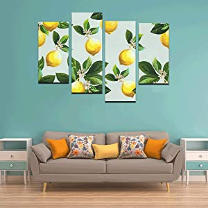 blueHUI 4 Pieces Art Mirror Wall Decor Yellow Lemon Dacoration Boys Room Wall Art No Frame Living Room Office Hotel Home Decor Gift