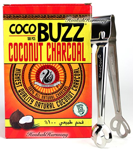 Starbuzz Cocobuzz Coconut Charcoal 108 Pcs BONUS Sheecool Tongs (Starbuzz Tobacco Charcoals)