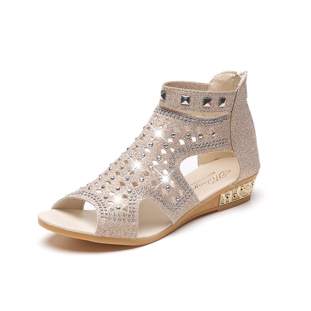 Women's Soft Wedge Sandals Fish Mouth Flats Hollowed Bling Bling Sequin Crystal Outdoor Lady Roma Shoes Summer (Beige, US:7)