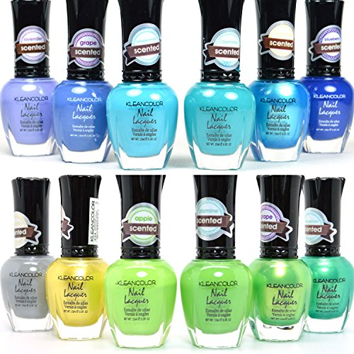 12 PCS KLEANCOLOR NAIL POLISH SCENTED COOL & JUNGLE LACQUER COLLECTION KNP20+21 + FREE EARRING
