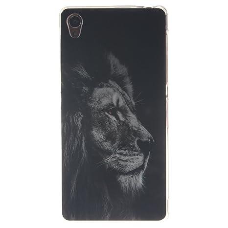 Guran® Silicona Funda Carcasa para Sony Xperia Z3 Smartphone Case Bumper Shock TPU Cover-León negro