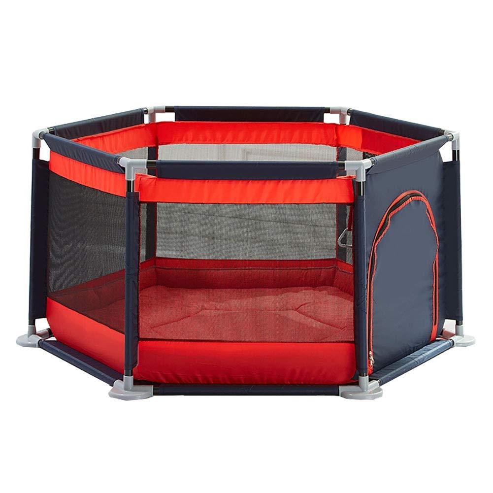 ベビーサークル ホーム赤ちゃんの安全ベビーサークルゲームプレイヤード屋内子供たちはフェンス遊び場子供は150個のボール&マットで庭を再生し (色 : Red)  Red B07H7Z5R1R
