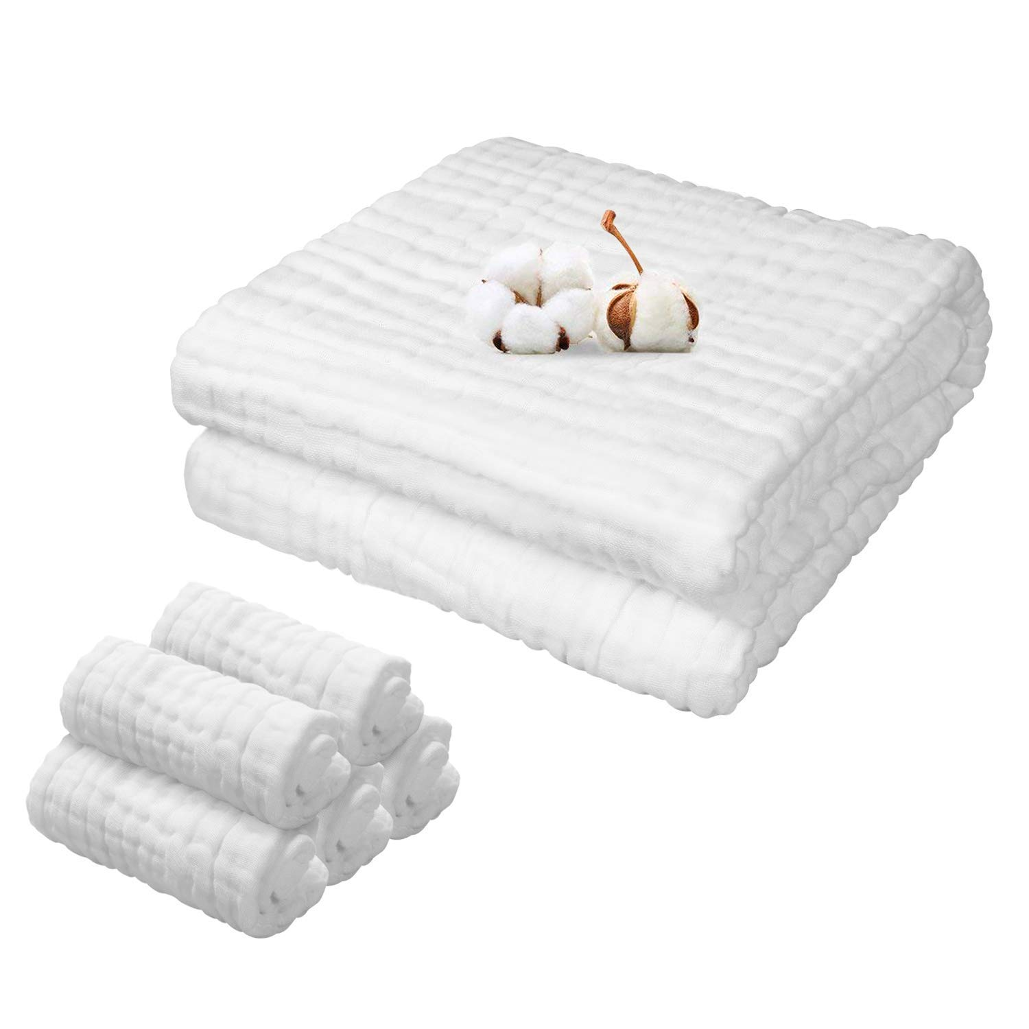 Baby Towels Muslin Washcloths Set - 1 Large Bath Towel & 5 Washcloths, 6 Layers 100% Cotton, Super Absorbent and Soft, Suitable for Baby's Skin (White+ 5 White) by hipibbo