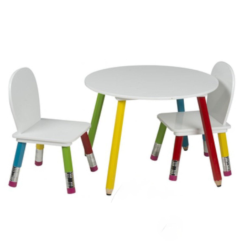 Kindertisch mit 2 Stühlen Kinderzimmer Tisch Kinder Möbel Bunt Kindersitzgruppe Smartweb