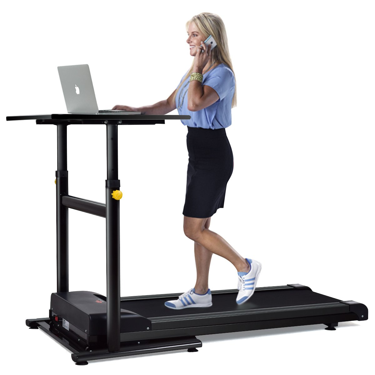 Goplus Treadmill Desk Standing Walking Treadmill Electric Machine W/ Tabletop Height Adjustable Treadmill Workstation Perfect for Office & Home