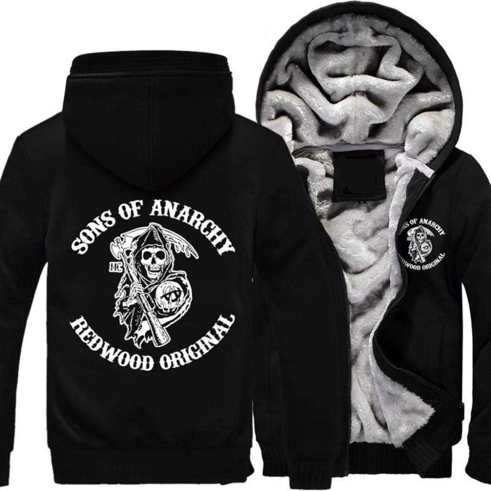 LXSH Hoodie Unisexe Sons of Anarchy Winter /Épaississement en Vrac Plus Velours Gardez Sweat Chaud Fermeture /À Glissi/ère Cardigan Chandail /À Capuchon,E-2XL