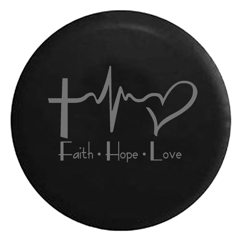 Faith Hope Love Cross Heart EKG Jesus Religious Spare Jeep Wrangler Camper SUV Tire Cover Gray Ink 33 in