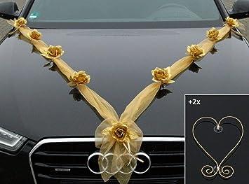 Gold Silber Auto Schmuck Braut Paar Rose Deko Dekoration Autoschmuck Hochzeit Car Auto Wedding Deko Ratan Organza Mh Gold