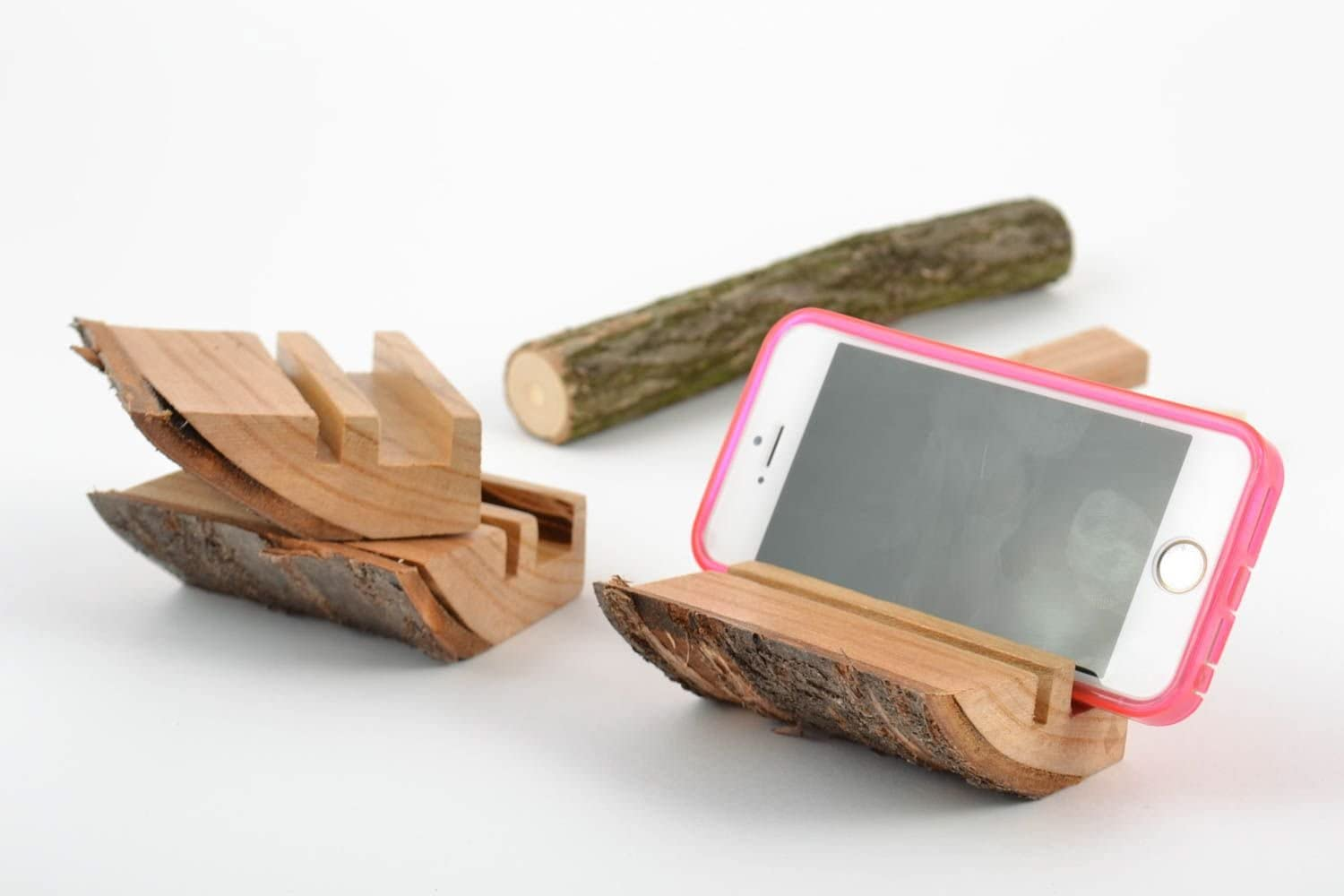 Set Of 3 Small Handmade Designer Desktop Cell Phone Stands Cut Out Of Wood