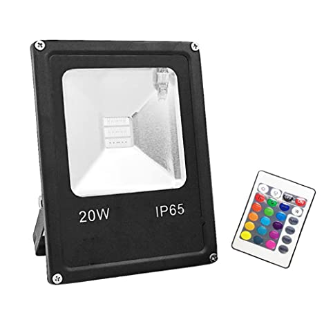 GLW Remote Control 20W RGB LED Flood Light,Outdoor Waterproof Security  Colour Changing Light,