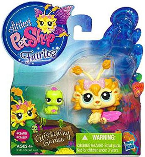 Hasbro Littlest Pet Shop Fairies Glistening Garden Enchanted Figure Dandylion Fairy with Inchworm